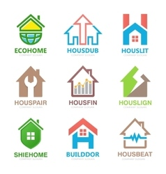 Set of house logo design template House logo vector image