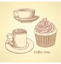 Sketch coffee set in vintage style vector image vector image