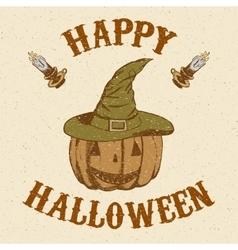 Sketch pumpkin in hat in vintage style vector image vector image