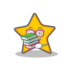 Student with book star character cartoon style vector