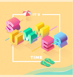 summer time on beach isometric vector image vector image