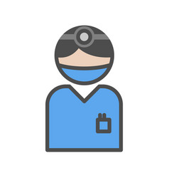 Surgeon icon with blue uniform at the hospital vector