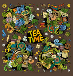 Tea time doodles design vector