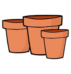Three terra cotta pots vector