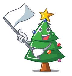 With flag christmas tree character cartoon vector