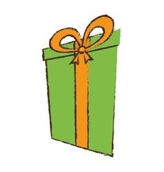 Color gift box ribbon elegant present sketch vector