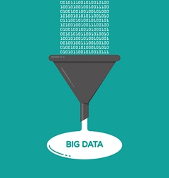 Big data analysis filter funnel flat vector
