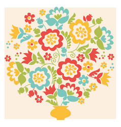 Retro style flower summer bouquet in pastel color vector
