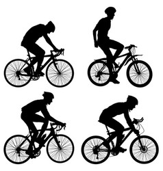 set silhouette of a cyclist male vector image