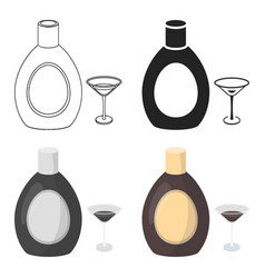 chocolate liqueur icon in cartoon style isolated vector image