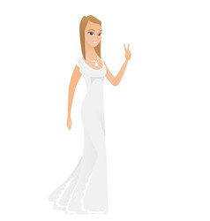 Caucasian fiancee showing the victory gesture vector