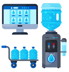 Water delivery service different water bottle vector