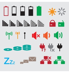 Laptop and pc indication status icons eps10 vector
