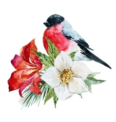 Flowers with bird vector