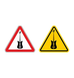 Warning sign attention to music Guitar yellow vector image