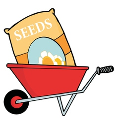 Bag of flower seeds in a wheel barrow vector