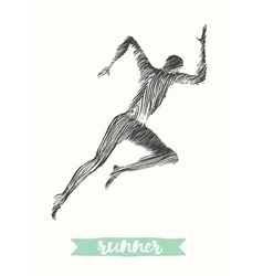 Hand drawn runner silhouette running man run vector