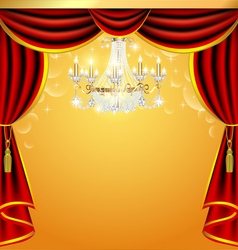 Background with curtains and a chandelier with spa vector