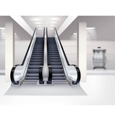 Escalator interior realistic concept vector
