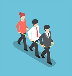 Isometric business people walking forward together vector