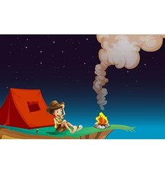 A boy with tent near the cliff vector image vector image
