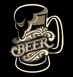 a glass with calligraphic inscription for beer vector image vector image