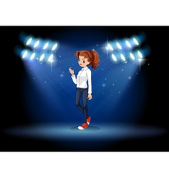 A smart looking girl at the stage vector image vector image