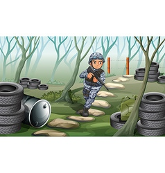 A soldier in the forest vector