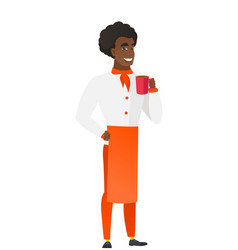 African-american chef cook holding cup of coffee vector
