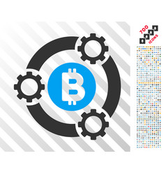 Bitcoin pool collaboration flat icon with bonus vector