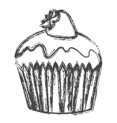 Blurred silhouette sketch cupcake with strawberry vector