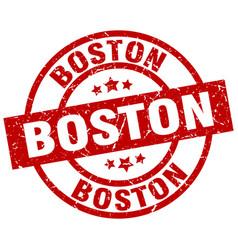 Boston red round grunge stamp vector