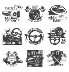 Car repair emblem set vector