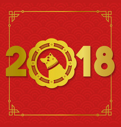 Chinese new year gold 2018 paper cut dog card vector