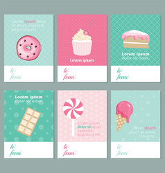 decorative sweets cards banners collection vector image