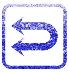 Double left arrow framed textured icon vector