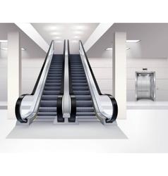 Escalator interior realistic concept vector