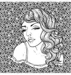 Face of pretty elegant boho girl on florals vector