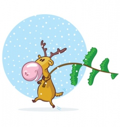 funny deer with pine tree vector image