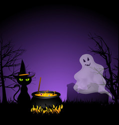 Halloween ghost and black cat with cauldronai vector