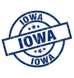 Iowa blue round grunge stamp vector
