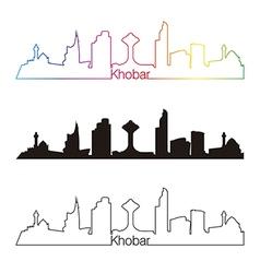 Khobar skyline linear style with rainbow vector image