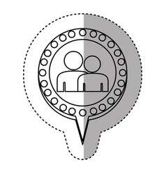 monochrome sticker with couple and circular speech vector image vector image