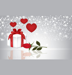 present rose and hearts on blurred background vector image vector image