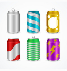 Realistic aluminum cans color empty set vector