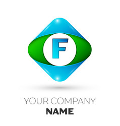 Realistic letter f logo in colorful rhombus vector