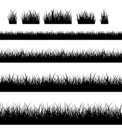 Seamless black grass silhouettes vector image