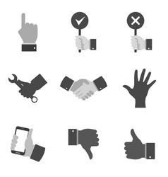 Set of gray hand icons and symbols in trendy flat vector