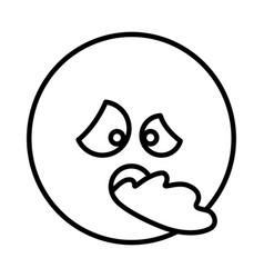 Silhouette emoticon face sick expression vector