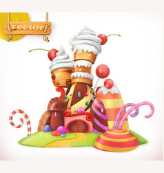 Sweet castle gingerbread house cake cupcake candy vector